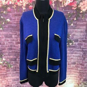 St. John Royal Blue Santana Knit Jacket Gold Trim